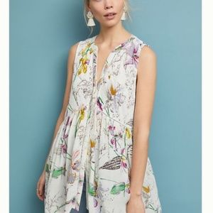 SALE NWT Anthropologie White Floral Nia Tunic Top